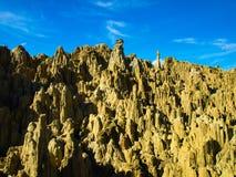 Sharp rock pillars in bolivian Moon Valley Royalty Free Stock Photography