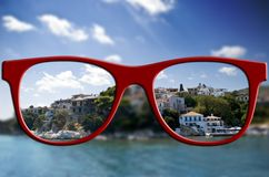 Sharp sight concept. Blurred and sharpen eyesight. Royalty Free Stock Images