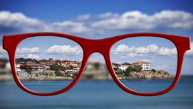 Sharp sight concept. Blurred and sharpen eyesight. Stock Photography