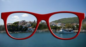 Sharp sight concept. Blurred and sharpen eyesight. Stock Photos