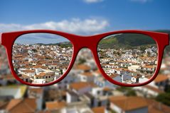 Sharp sight concept. Blurred and sharpen eyesight. Stock Images