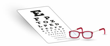 Sharp snellen chart and glasses with shadow Royalty Free Stock Images