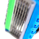 Sharp steel blades of cartridge for shaving razor Stock Photo