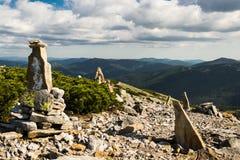 Sharp stones. On top of the mountain Stock Photo