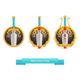 Sharp Sword Icons. Icons fantasy swords on a white background with three gradations improve Stock Photo
