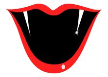 Sharp teeth. And red lips Royalty Free Stock Photos