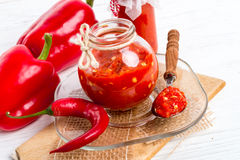 Sharp tomatoes paste Stock Photography