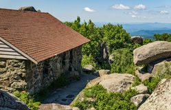 Sharp Top Mountain Shelter. Bedford County, VA – June 28th: The Sharp Top Mountain shelter was constructed in 1858 by the Otter Peaks Hotel. Today the stone Stock Photos