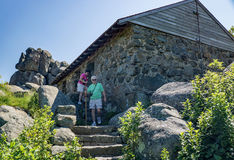 Sharp Top Mountain Shelter. Bedford County, VA – June 28th: The Sharp Top Mountain shelter was constructed in 1858 by the Otter Peaks Hotel. Today the stone Stock Images