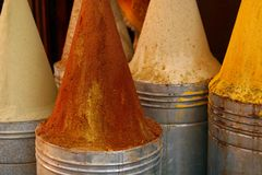 Sharp towers of spices on the market. Marrakech medina (old town), Morocco Royalty Free Stock Photography
