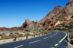 Sharp turn of the mountain road. Teide National Park, Tenerife, Canary Islands, Spain. Sharp turn of mountain road. Teide National Park, Tenerife, Canary royalty free stock photo