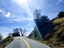 Sharp turn in the road stock image