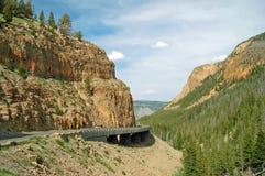 Sharp turning roadway in an idyllic setting Stock Photo