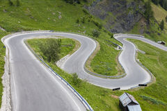 Sharp turns on a mountain road Stock Image