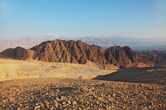 Sharp turns of road in mountains of Eilat Royalty Free Stock Photography