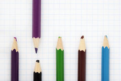 Sharp violet pencil Stock Photos