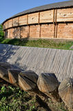 Sharp wooden paling as part of old fort. Fence Stock Photos
