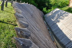 Sharp wooden paling as part of old fort Stock Photos
