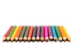 Sharped colored crayons Stock Photo