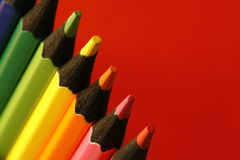 Sharpen pencils. A part of  pencils with a simple  colorful background Royalty Free Stock Photo
