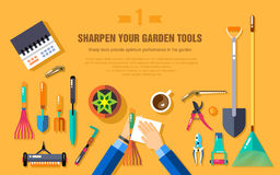 SHARPEN YOUR GARDEN TOOLS Royalty Free Stock Image