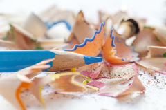Sharpened blue pencil and wood shavings. Close up Stock Image