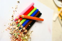 Sharpened colored pencils Stock Images