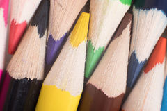 Sharpened colored pencils interleaved together Royalty Free Stock Photography