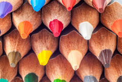 Sharpened colored pencils. Pencils close-up. Ready to paint. Royalty Free Stock Images