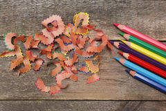 Sharpened colored pencils Stock Photos