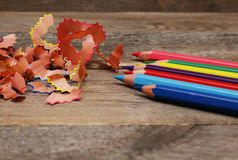 Sharpened colored pencils Stock Photo