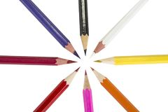 Sharpened colored pencils on the white background. Sharpened colored pencils on the white background Royalty Free Stock Photography