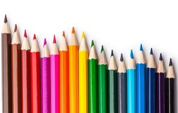 Sharpened colored pencils on a white background. Royalty Free Stock Photos