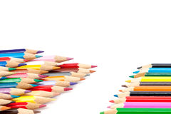 Sharpened colored pencils on a white background. Stock Photo