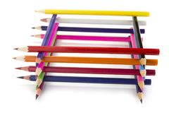 Sharpened colored pencils on the white background. Sharpened colored pencils on the white background Stock Photography