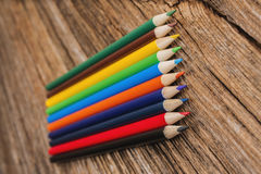 Sharpened colored pencils,wood Stock Photo