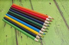 Sharpened colored pencils,wood Royalty Free Stock Images