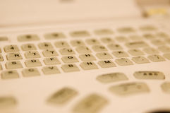 Sharpened foto of white keyboard buttons Stock Image