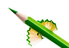Sharpened green pencil Royalty Free Stock Photos
