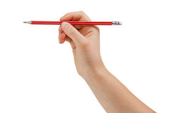 Sharpened pencil in hand Royalty Free Stock Image