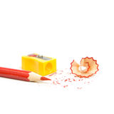Sharpened pencil next to the sharpener Royalty Free Stock Photography