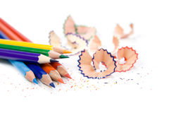 Sharpened pencil with shavings Stock Photography