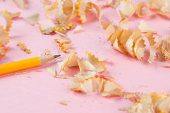 Sharpened Pencil With Shavings  Royalty Free Stock Photography