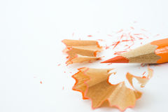 Sharpened pencil and wood shavings Stock Photography