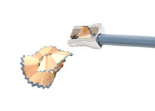 Sharpened pencil and wood shavings Stock Images