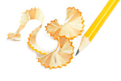 Sharpened pencil and wood shavings Royalty Free Stock Images