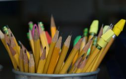 Sharpened Pencils reday for use. A bucket full of sharpened pencils Royalty Free Stock Photo