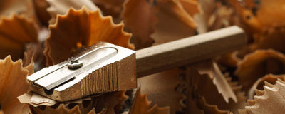 Sharpened pencils, sharpener and wood shavings - Banner/Header edition. Sharpened pencils, sharpener and wood shavings  - banner / header editionn Stock Images