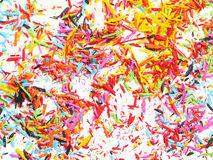 Sharpened pencils shavings background Royalty Free Stock Images