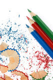 Sharpened pencils and wood shavings Stock Image